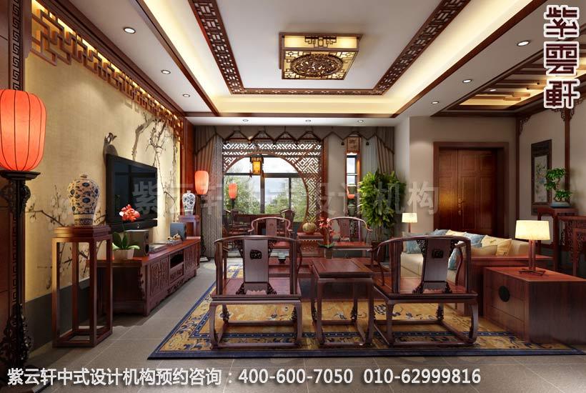 中式风格精品住宅客厅设计电视背景墙以