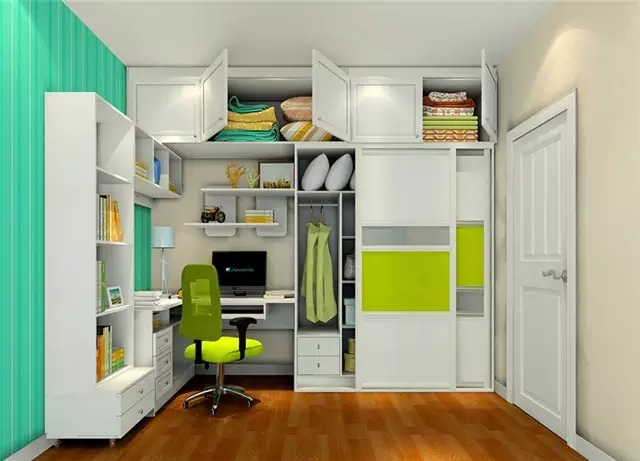 在卧室一角设计l型转角书桌,可获得较大的办公空间;同时,书架上的书籍图片