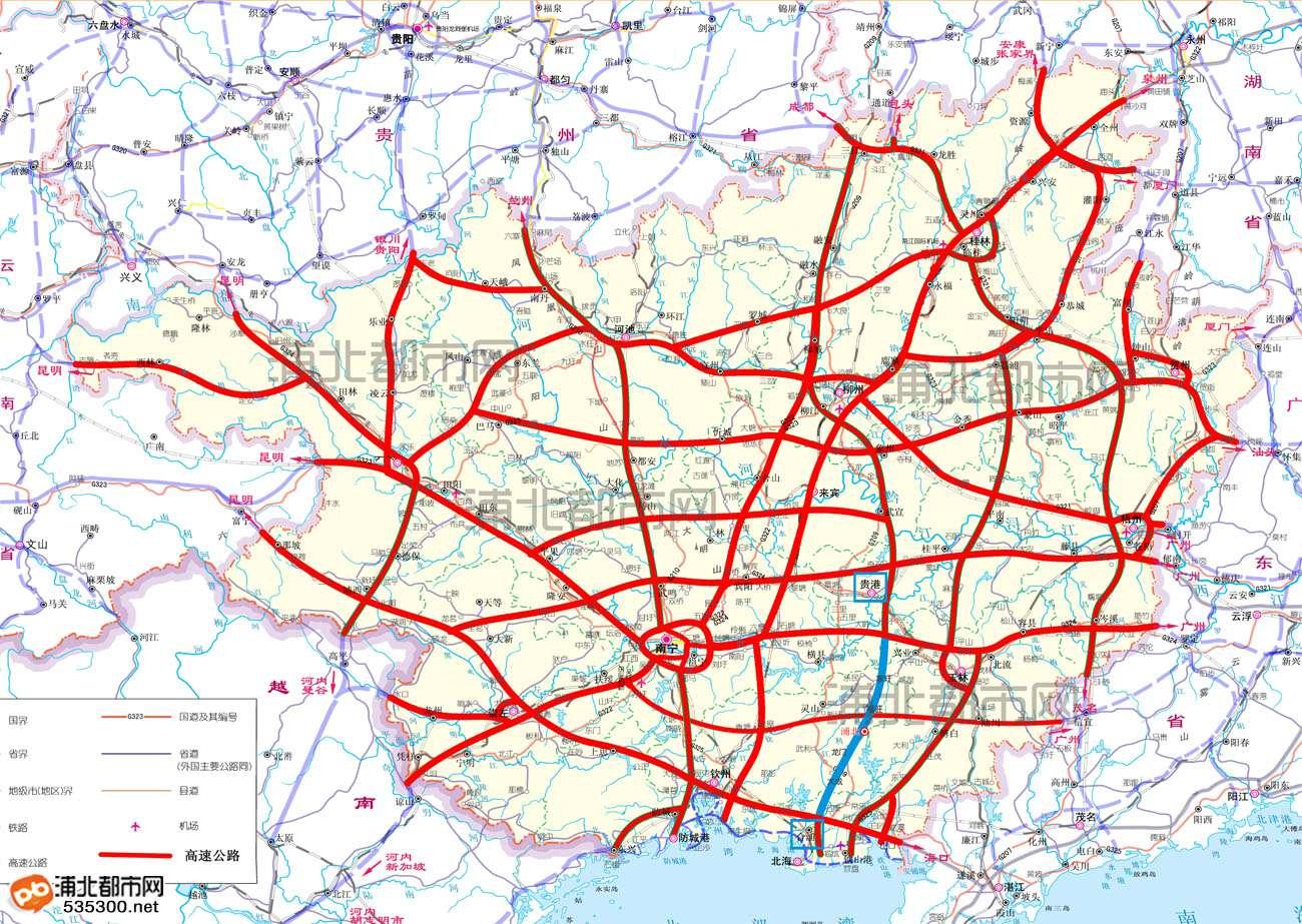 广州至北海高速路线图