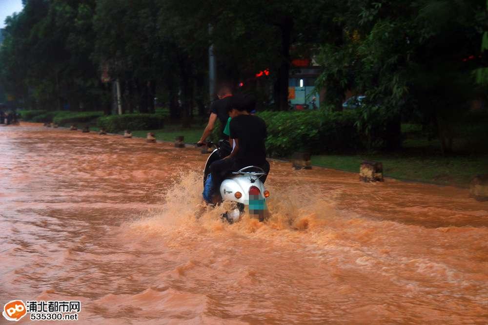 强降雨!浦北多条街浸水,快来看看这场暴雨有多凶猛...