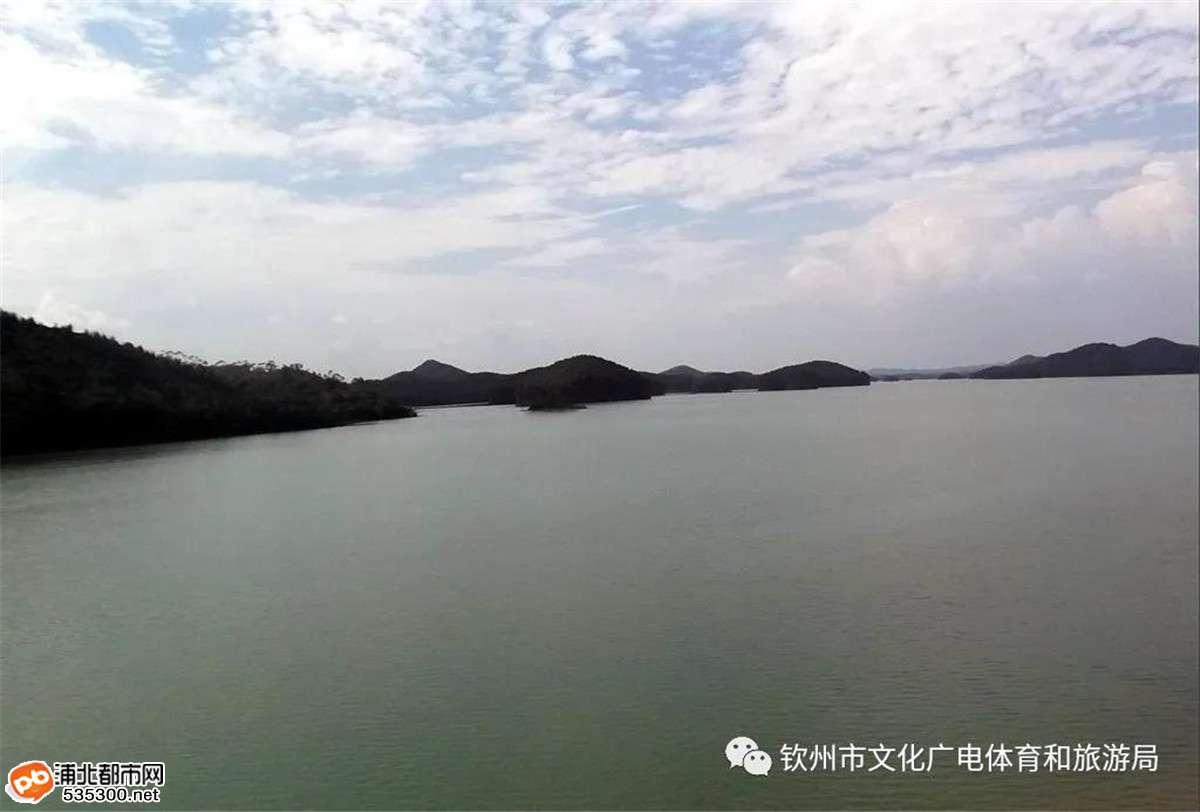 浦北小江水库,水平如镜像无边泳池还有万只白鹤翩翩起舞